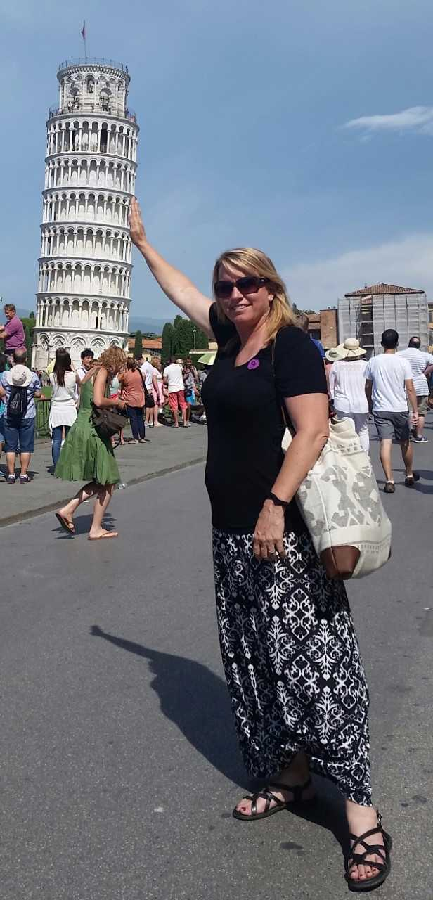 Mrs. Busch - Holding up the leaning tower of Pisa