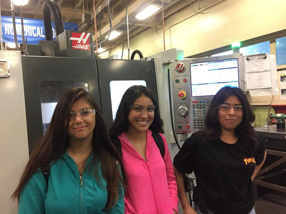 Girls learning about CNC